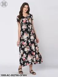 Floral Printed Black Maxi Dress For Women