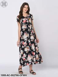 White Cotton Floral Printed Black Maxi Dress For Women