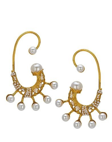 Gold Plated Pearl Ear Cuff Earring Set