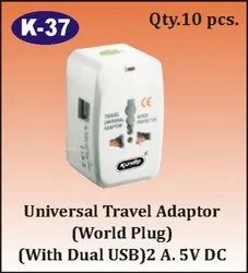 K-37 Universal Travel Adapter With Dual USB