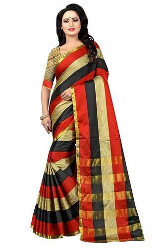 120e12bc40 Silk Red, Black & Golden Striped Saree, Rs 599 /piece, YOYO Fashion ...
