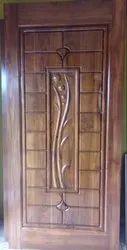Teakwood Carving Panel Hinged Door for Home