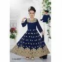 Georgette Kids Embroidered Anarkali Suit, Packaging Type: Packet