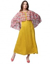 Women Mustard Floral A-Line Rayon And Chiffon Dress