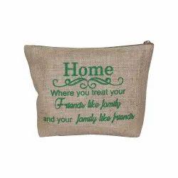 Green,Brown Without Handle Jute Travel Bag, Bag Size: 20 X 28 X 6 cm (w X H X L)