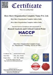 HACCP Certification and Consultancy Service