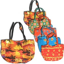 Canvas Printed Bags with Inside Clutch Bag
