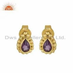 Designer Gold Plated Silver Natural Purple Amethyst Gemstone Stud Earring