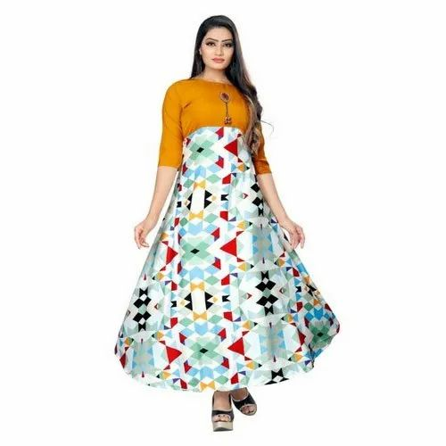 Ladies Printed Satin Gown, Size: S-XXL