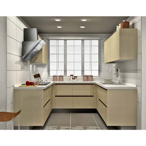 Sleek World Wooden Residential U Shaped Modular Kitchen