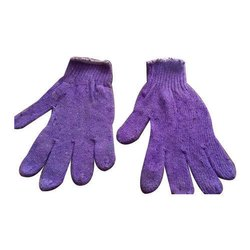 Purple Cotton Knitted Gloves