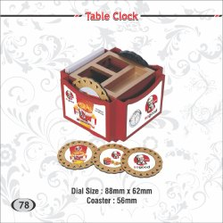Table Clock Pen Stand with Coaster