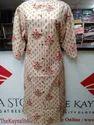 3/4th Sleeve Straight Cotton Printed Formal Wear Kurti, Size: S M L Xl
