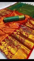 Monshika Silk Saree with Blouse Piece, Length: 6 m