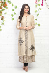 A-LINE PRINTED KURTI WITH JACKET