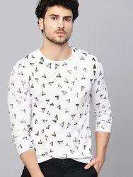Cotton Printed White Mens T Shirt, Size: S to XXL