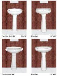 G.E.C. Ceramic Wash Basin Pedestal White(f G), For Home