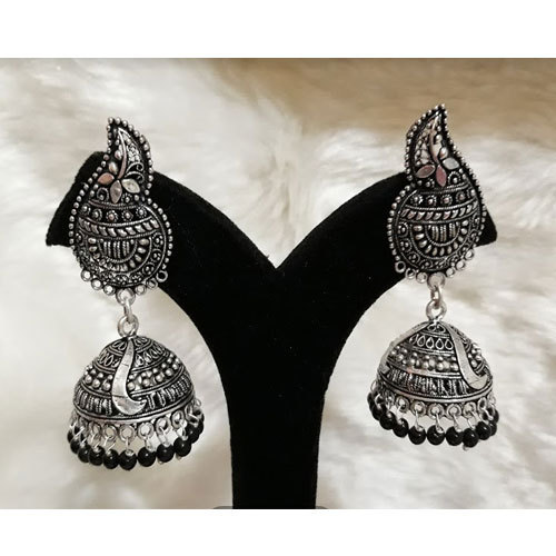 7acd5d276973b Oxidized German Silver With Black Beads Jhumka