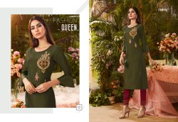Look Book-Fionista Poly Silk With Hand Work Beautiful Kurtis
