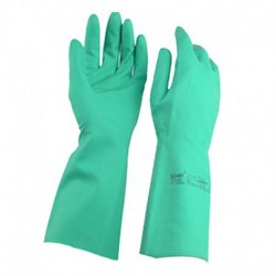 Washable Green Nitrile Hand Gloves, For Industrial Use, Size: Small, Medium and Large