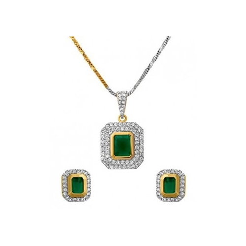 Green, Gold Emerald Pendant Set