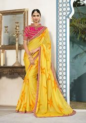PR Fashion New Yellow Saree With Designer Blouse