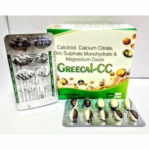 Calcitriol Calcium Citrate Zinc Sulphate Monohydrate & Magnesium Oxide, Packaging Type: Strip