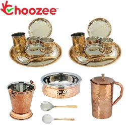 Choozee - Stainless Steel Copper Thali Dinner Set with Serveware & Hammered Pitcher Jug (19 Pcs)