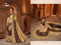 Indian Women Gold and Brown Color Lycra and Net Saree