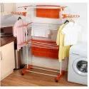 Parasnath Portable Stainless Steel 1 Poll 3 Layer Clothes Hanger Drying Rack Stand