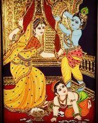Krishna, Balram And Yashoda Tanjore Painting