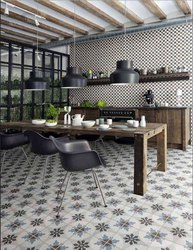 Flower Printed Floor Tile