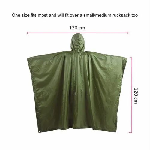 Olive Green Ripstop Poncho Ripstop One Size Fits All Waterproof Rain Cape