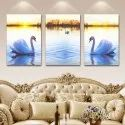 Wood Rectangle Hd Digital Reprint Swan Mdf 3in1 Pieces Paintings, For Decoration