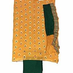Golden and Green Color Fancy Design Gadhwal Bandhani Dress Material