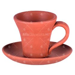 Clay Cup And Saucer