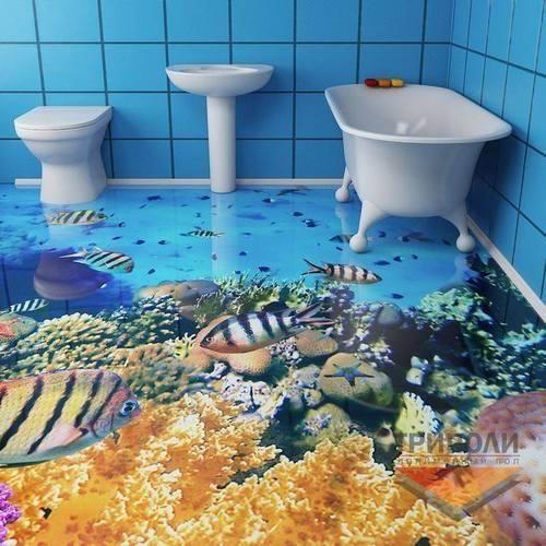 3D Bathroom Flooring Wallpaper
