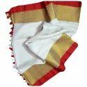 Ladies White Bordered Linen Saree