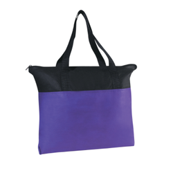 Purple And Black Non Woven Zipper Bags