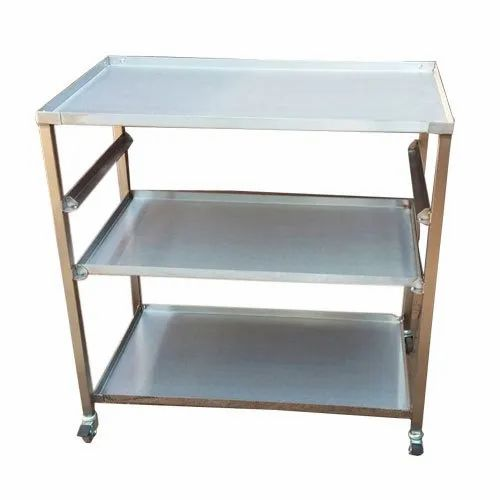 Stainless Steel SS Wheeler Trolley Table