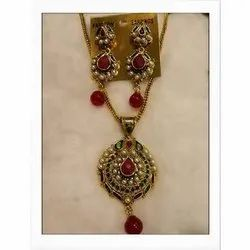 Ladies Artificial Brass Necklace Set, Size: 10 Inch Length