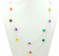 Amethyst And Citrine Gemstone Silver Plated Bezel Necklace For Women