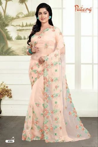 a5b85f6e04c1f PATANG ROSE PETALS SOFT FEEL ORGANZA FABRIC WITH EXCLUSIVE WORK SAREE SATIN  SILK BLOUSE