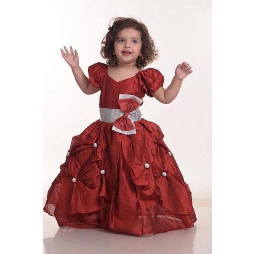 13ecbf501 Satin Also Available In Velvet And Ciffon Baby Maroon Designer Frock ...