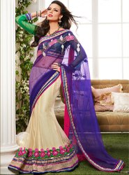 Charismatic Cream and Purple Lehenga Style Saree