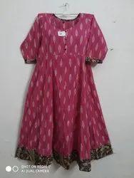 Cotton Round Neck Pochampally Ikat with Kalamkari Border Top, Size: 38