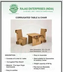 Corrugated Table and Chair For Covid 19 Hospital and Isolation Ward