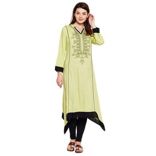 Ladies Green Rayon Embroidered Long Party Wear Kurti