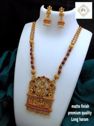 Matte Finish Temple Jewellery Set - D 5009R