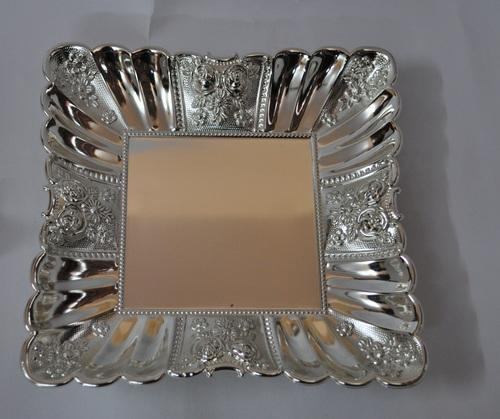 Sambhav Products Silver Tray 4 Stone (Medium)